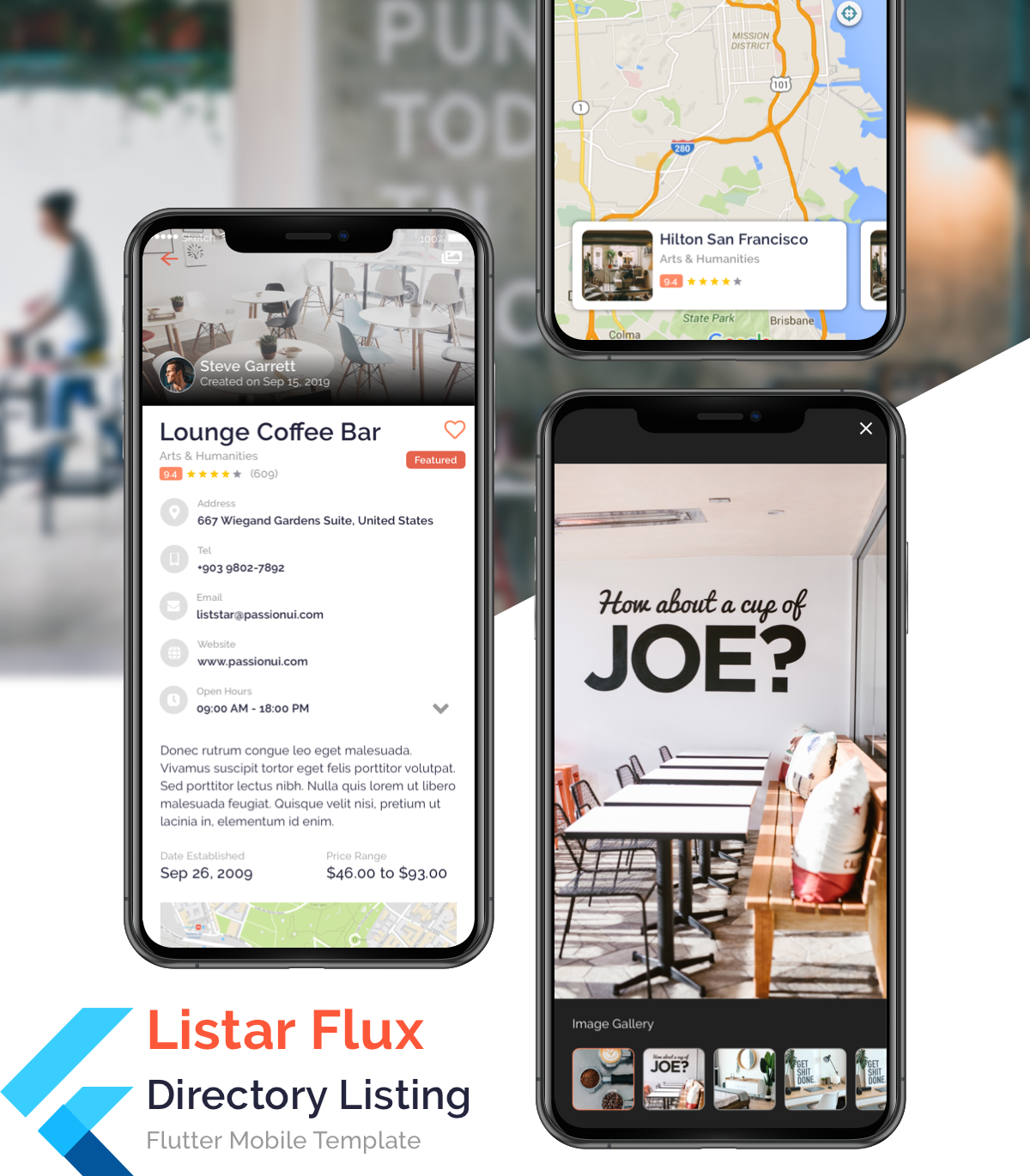 Listar Flux - mobile directory listing app template for Flutter - 1